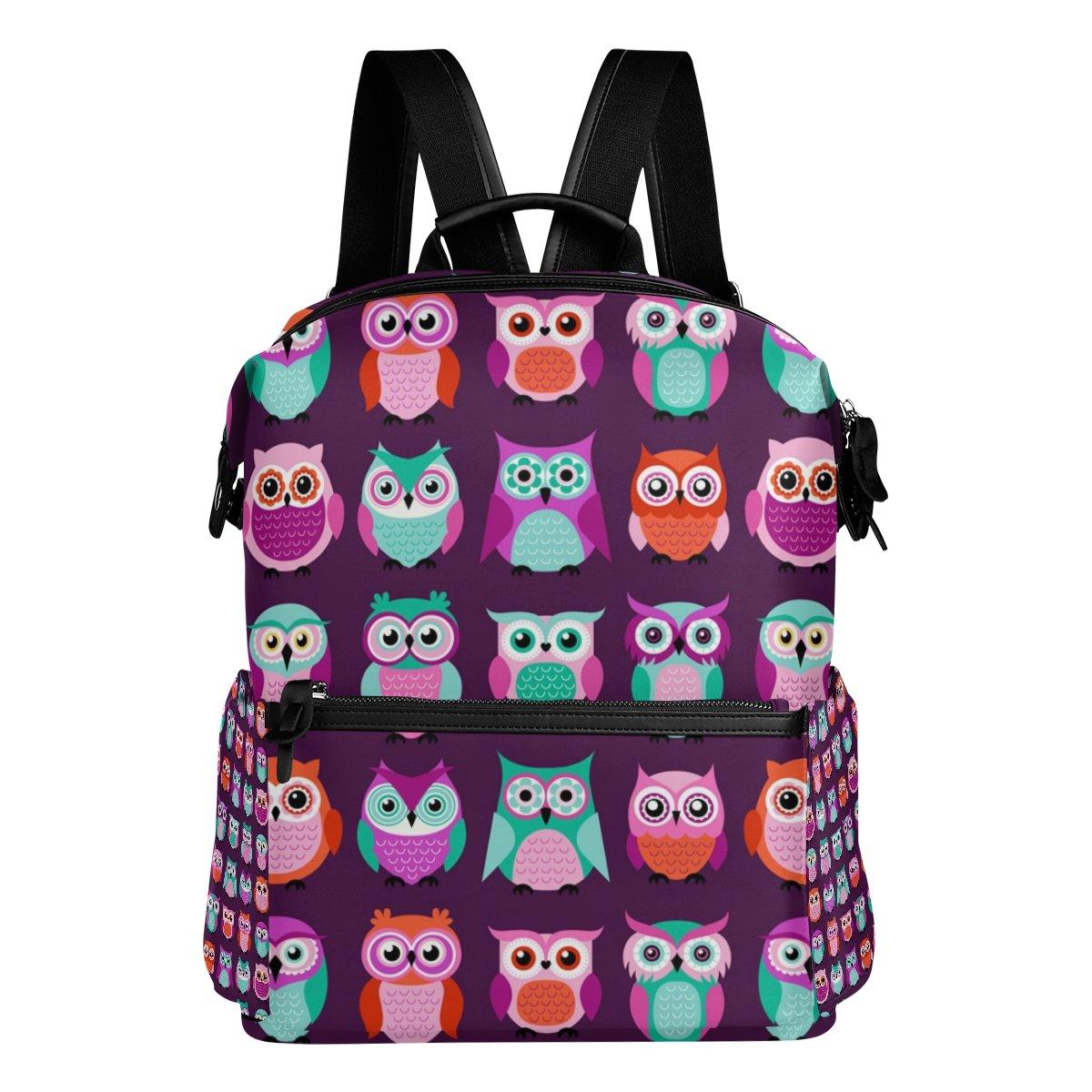 COOSUN Patrón búhos pájaros púrpura púrpura púrpura escuela de la mochila del morral del recorrido Multi 8d7b76