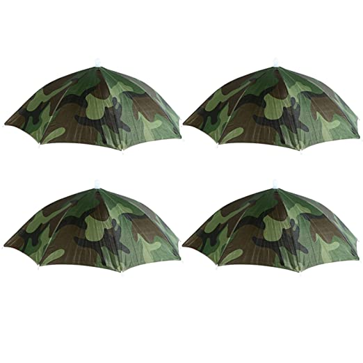 14ab45afcef61 Amazon.com  4 Pack CAMO Umbrella Hat Cap Hands Free with Head Strap for Sun  Rain  Clothing
