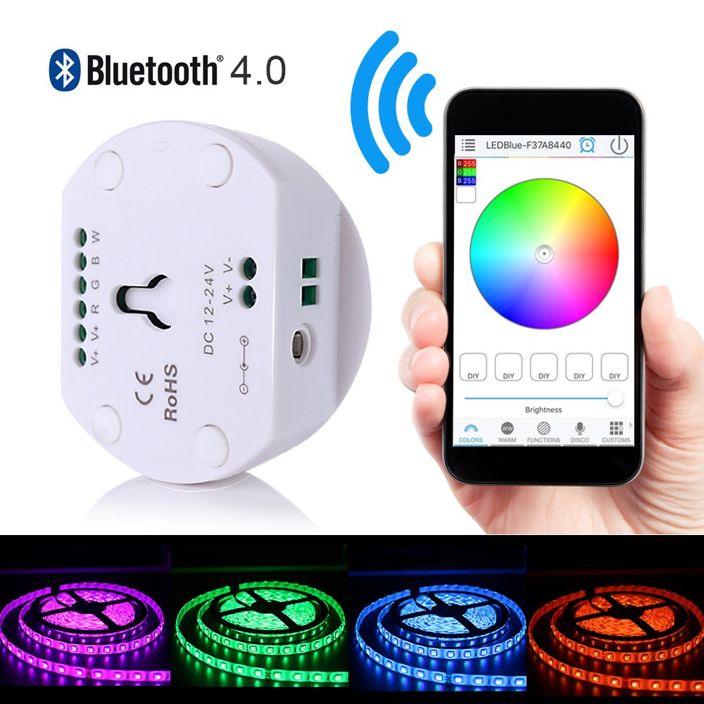 Korjo DC12V 24V LED Strip Light Bluetooth Controller for RGB RGBW Light Strip Magic UFO Smartphone APP Controller with Multi Function Support iPhone Android by KORJO
