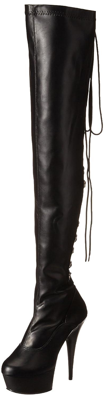 Pleaser Delight-3063 Damen Kurzschaft Stiefel  43 EU|Schwarz (Schwarz (Blk Str Faux Leather/Blk))