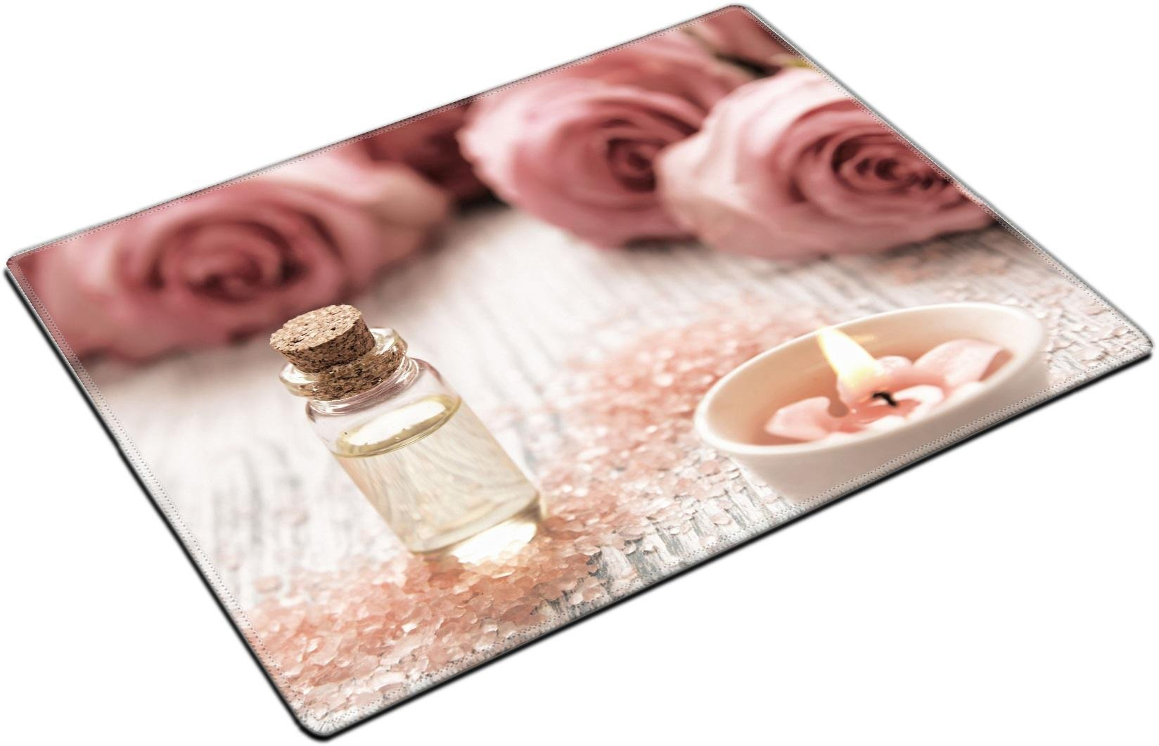 MSD Place Mat Non-Slip Natural Rubber Desk Pads design 35836449 Spa theme with candles and flowers on wooden background