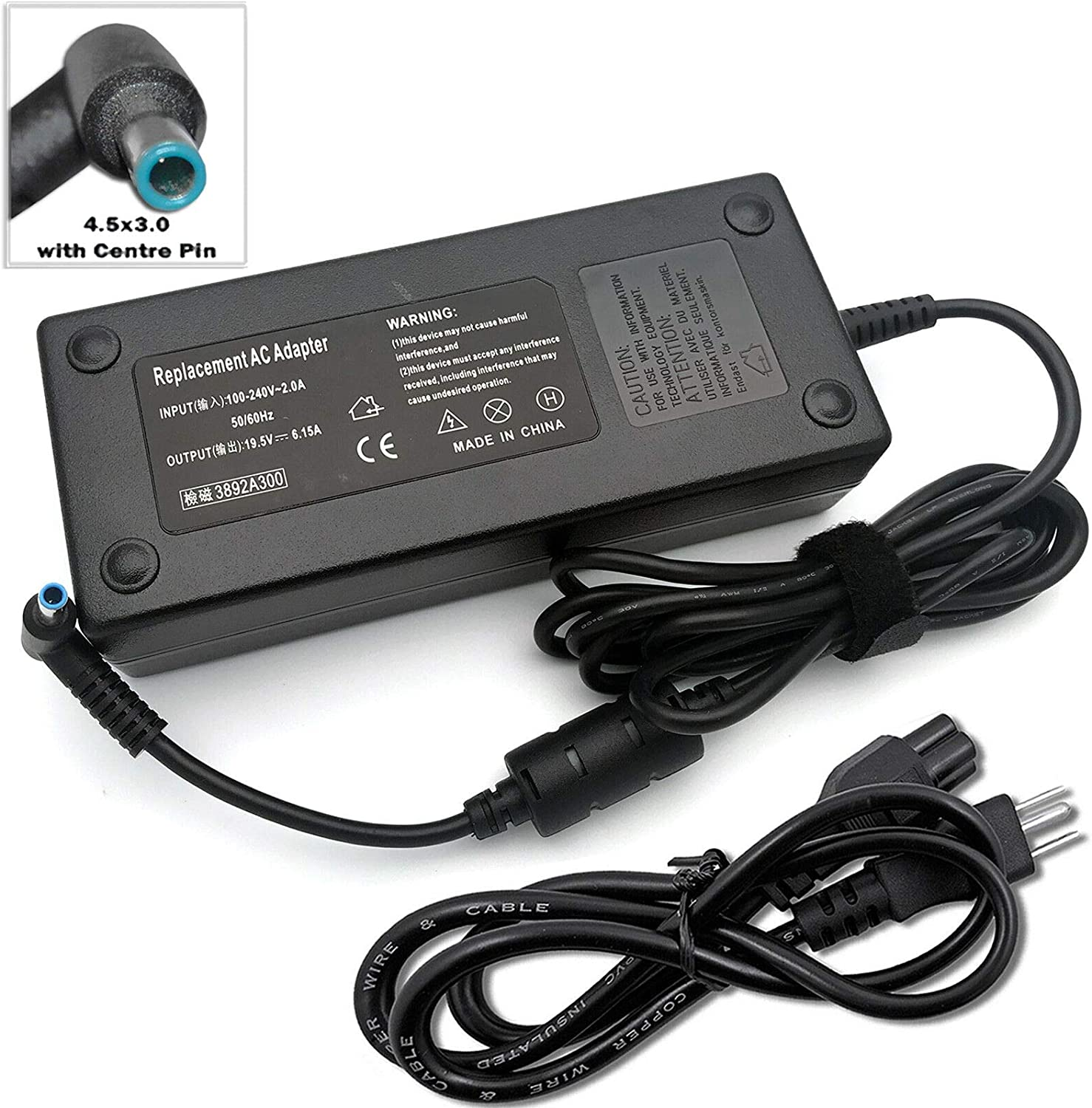 120W AC/DC Adapter Compatible with HP Envy 15-j092nr,710415-001 Notebook Power Supply Battery Charger Cord PSU