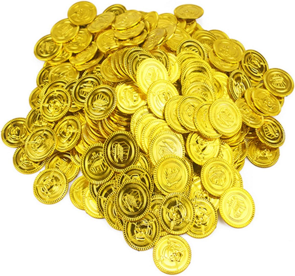 Plastic Pirate Gold Play Toys Coins Birthday Party Favors Play Money Coins X24LE