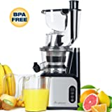 Aobosi 80MM(3.15inch)Big Mouth Whole Slow Masticating Juicer extractor ,Wide Chute Anti-Oxidation Cold Pressed Juicer Extractor,Energy Saving 200W DC Heavy Duty Motor with Juice Jug and Cleaning Brush