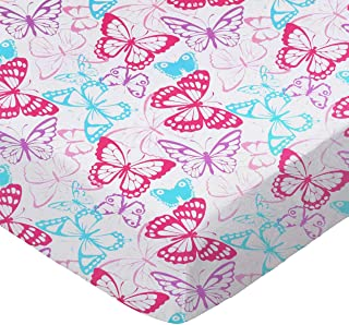 product image for SheetWorld Fitted 100% Cotton Jersey Square Play Yard Sheet Fits Joovy 38 x 38, Butterflies, Made in USA