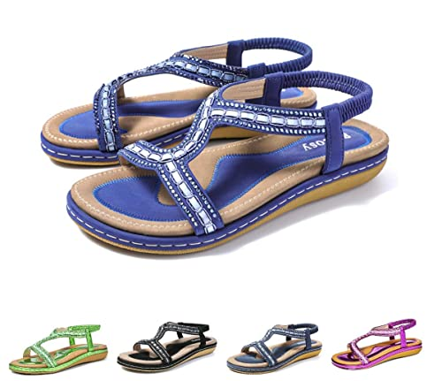 2a6c7e1d gracosy Sandalias Planas Verano Mujer Estilo Bohemia Zapatos para Mujer de  Dedo Sandalias Talla Grande 37