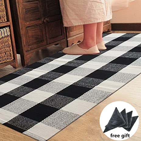 Ukeler Black And White Plaid Rugs Cotton Hand Woven Checkered Carpet  Washable Non Skid