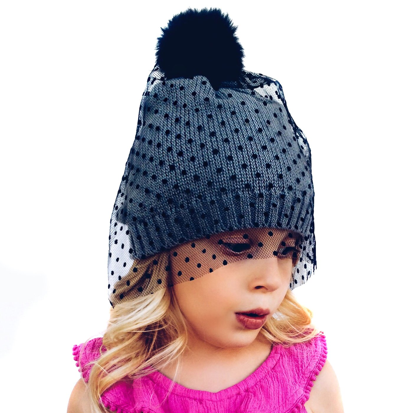 DESIGNER WINTER HAT WITH VEIL  Neon Eaters has been a leader in funky knit  hats since 2012. Their fun take on boys   girls winter hats make boring  beanies a ... 97196e13f6b2