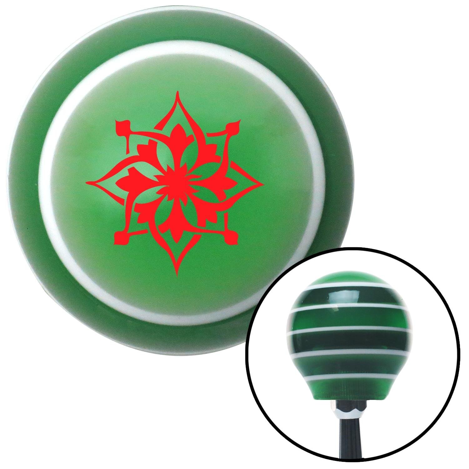 Red Hawaiian Flower #5 American Shifter 122930 Green Stripe Shift Knob with M16 x 1.5 Insert