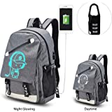 SUNVP Unisex Anime Luminous School Backpack Lightweight College School Bag Computer Backpack Business Laptop Travel Daypack with USB Charging Port and Lock(Gray)