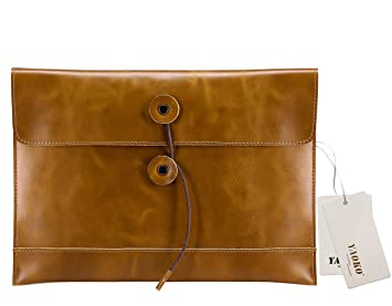yaoko hombre Crazy-Horse de Piel Embrague Cartera Bolsa para MacBook Air o iPad marrón