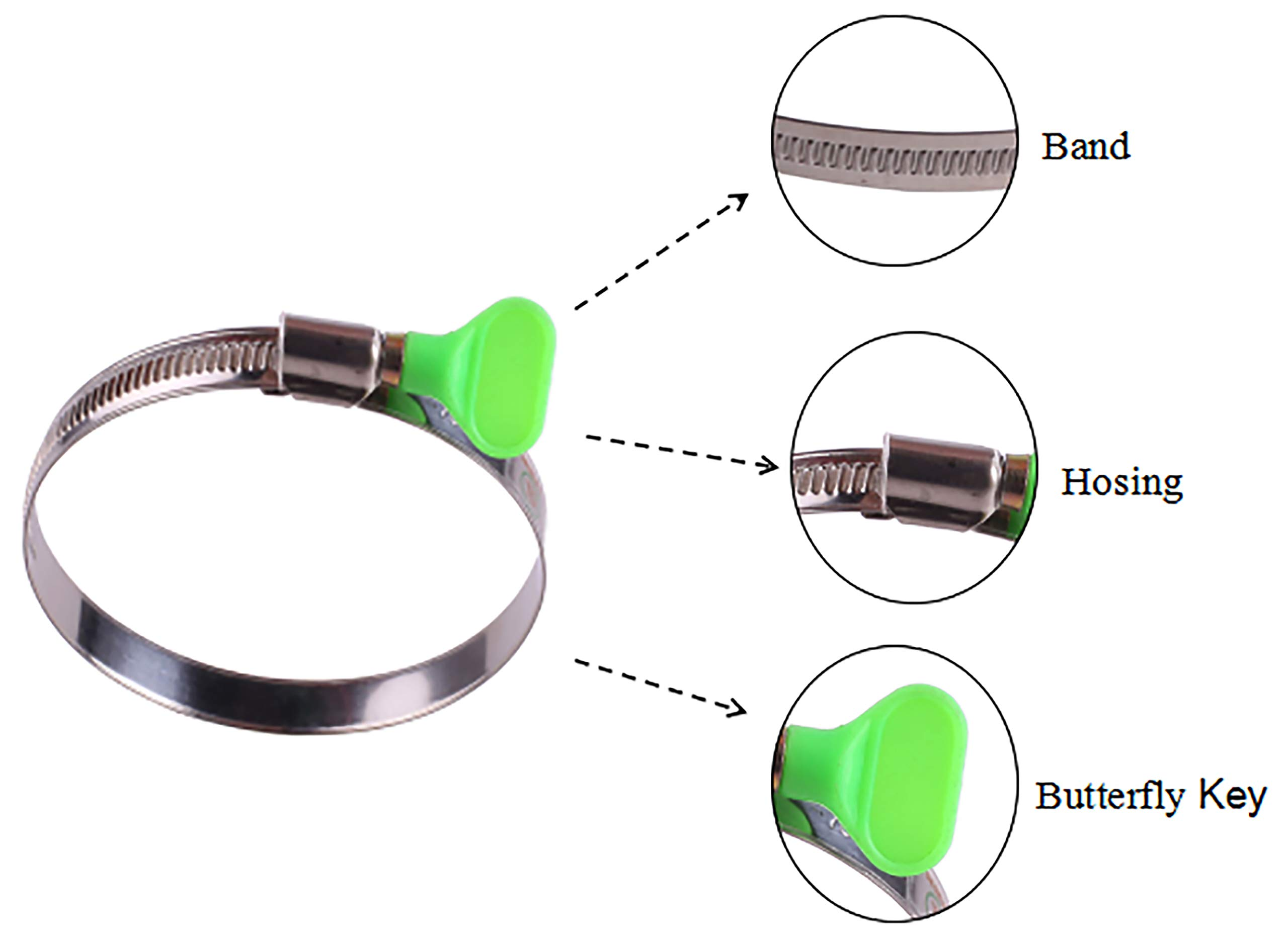 Duct Clamps Pipe Clamp Worm Gear Clamps Large Hose Clamps Pack of 8 GLIDESTORE 6-Inch Stainless Steel Hose Clamps Dryer Vent Hose Clamp