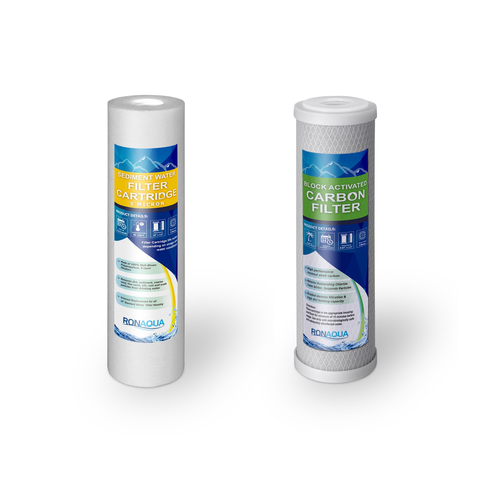 Ronaqua Countertop Drinking Water Filtration System Removes Chlorine (Replacement Filters for 2 Stage System)