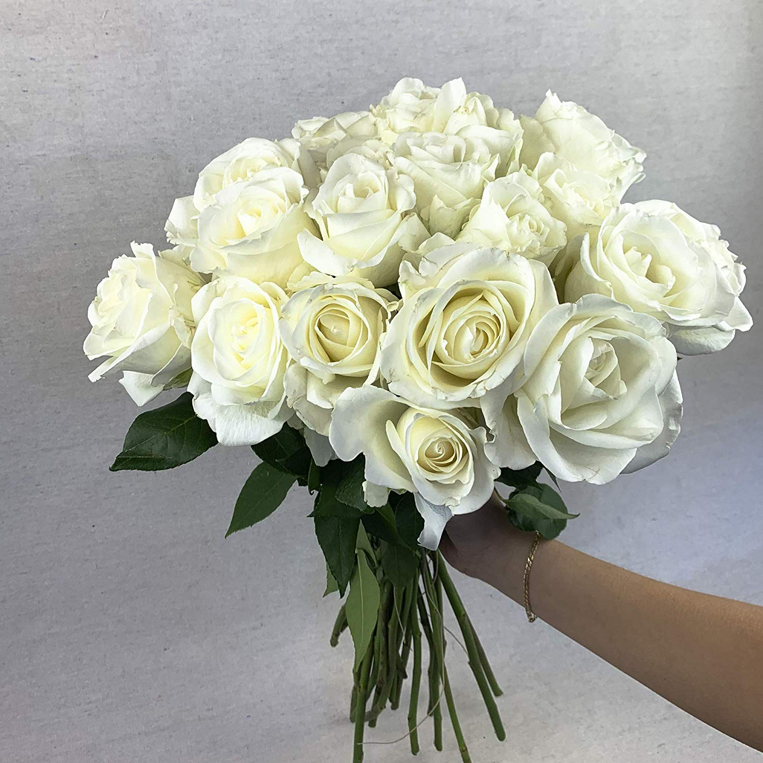 Green Choice Flowers - 24 (2 Dozen) Premium White Fresh Roses with Long Stem 20'' inch - Farm Fresh Flowers Beautiful White Rose Flower Cut Per Order Direct from Farm Free Fast Delivery Long Lasting