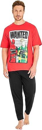 Marvel Pijama Hombre, Pijamas Hombre con Diseño Deadpool, Conjunto Pijama Hombre Algodon Camiseta Manga Corta y Pantalón Largo, Regalos Hombre