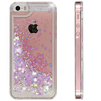 c3e02adc804 Funda iPhone 5 / 5S / SE Purpurina Carcasa, S-Protector Mujer Brillante  Liquida Ballistic Cristal Arenas Movedizas ...