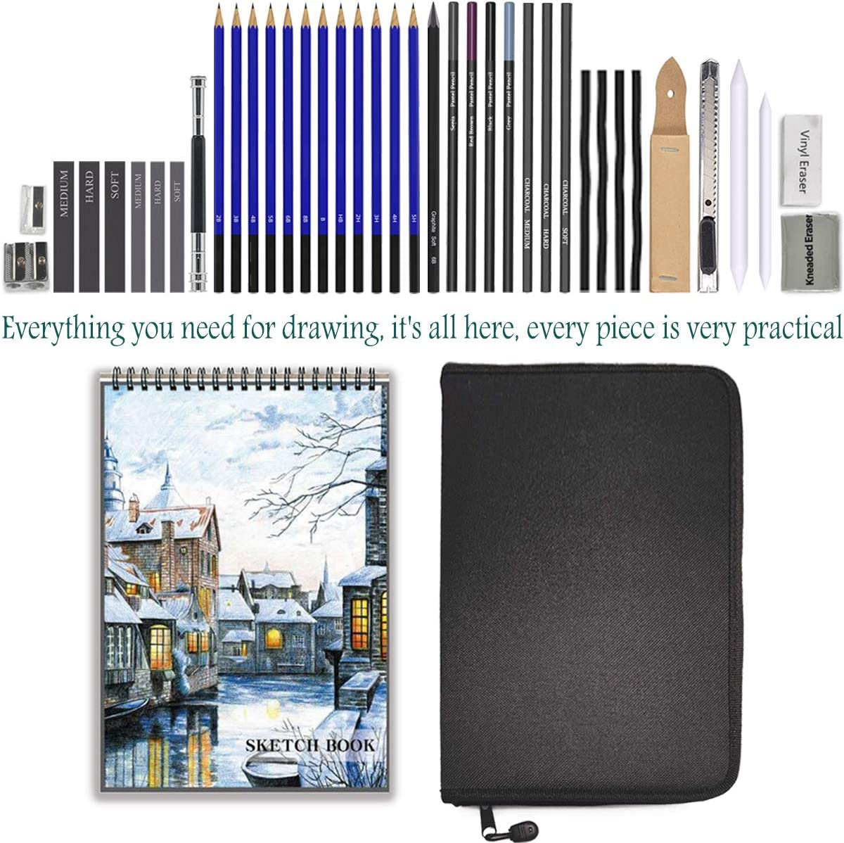 Sketch Pencils Set with Sketchbook, 41-Piece Professional Drawing Set and a 50-Sheet Pad for Kids, Teens and Adults, Complete Artist Kit Includes Pencils, Erasers, Pastels, A Handy Case etc.