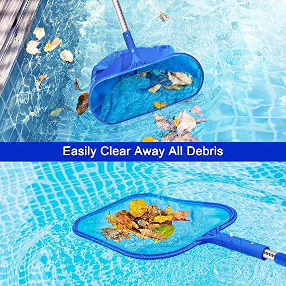 """Fine Mesh Leaf Skimmer /& Deep Bag with 45/"""" 3-Section Telescopic Pole for Cleaning Garden Pond Hot Tub and Spa Recogehojas de Piscina,Aiglam Swimming Pool Skimmer Net"""