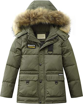 Details about Kids Boys Fur Hooded Coat Camouflage Cotton Down Jackets Baby Winter Parka Coats