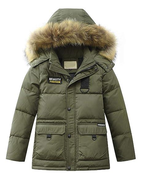 af388a9f5 Mallimoda Boy s Winter Parka Coat Jacket Kids Thick Hooded Parka ...