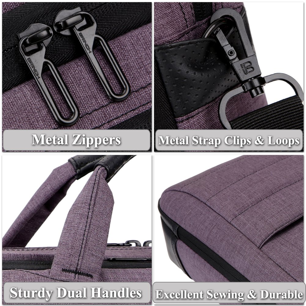 BRINCH 17.3 Inch Nylon Shockproof Carry Laptop Case Messenger Bag For 17-17.3 Inch Laptop/Notebook/MacBook/Ultrabook/Chromebook with Shoulder Strap Handles and Pockets (Dark Purple) by BRINCH (Image #7)