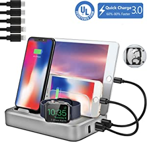 Sendowtek USB Charging Station Multi Devices 5-Port 50W Fast Charge Docking Station QC 3.0 Desktop Watch Stand Organizer 5 Mixed Cables for Android Phone,Tablet and Other Electronic Devices UL Listed