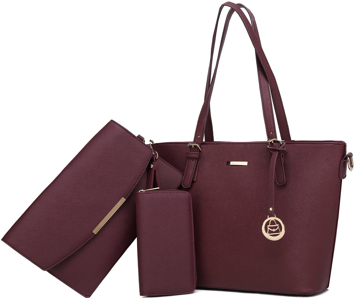 Women Shoulder Handbag + Envelopes+Wallet 3 Piece Set Bag for Work and Travel (Purple)