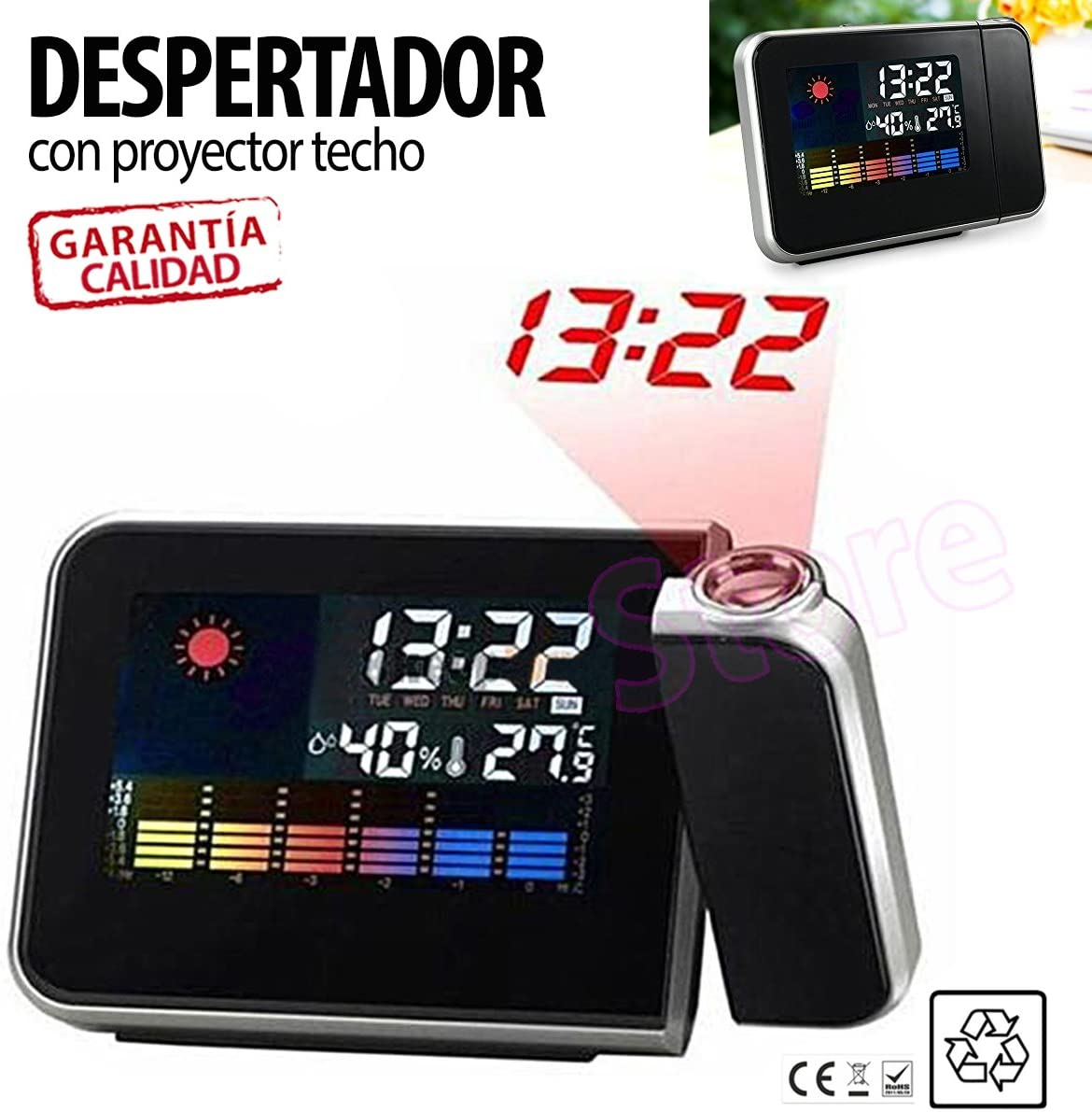 Reloj Despertador con Proyector LED para pared techo TiendaStore ...
