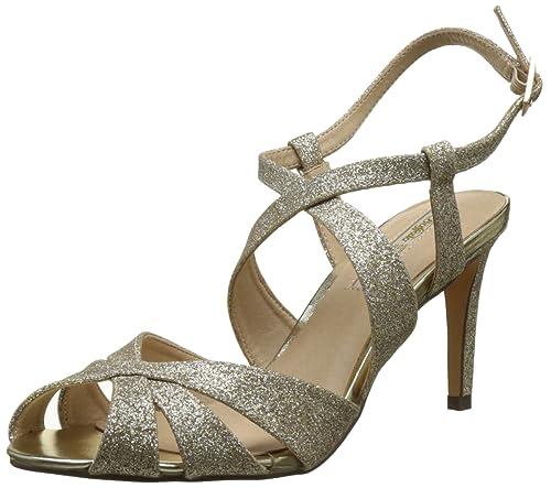 Buffalo Shoes Rk 1610128 Glitter Sandali a Punta Aperta Donna Oro Gold