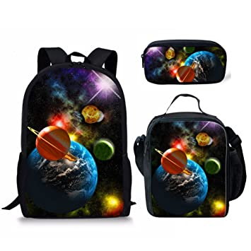 bd255286d5 Amazon.com | UNICEU 3 Pieces Set Cosmic Planet Galaxy Backpack+Insulated Lunch  Box+Pencil Bag for Kids Back to School | Kids' Backpacks