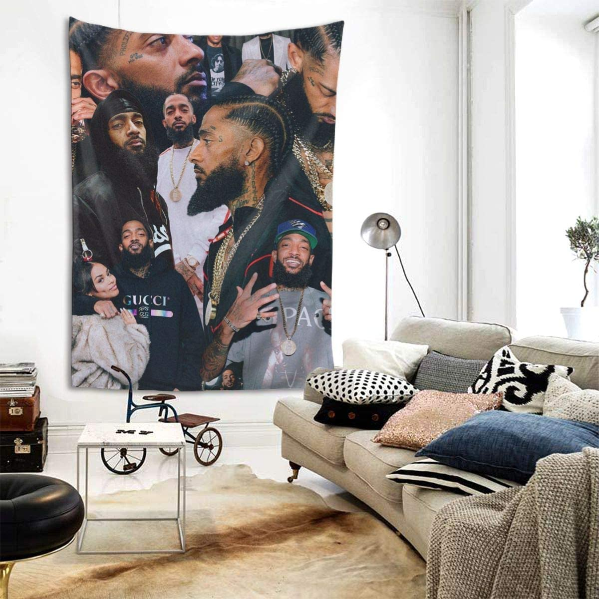 Xaler Nipsey-Hussle Rap R B Hip Hop Tribute Music Tapestry Wall Hanging Home Decorations with Art Print Mural for Living Room Bedroom Dorm Decor in 80 X 60 Inches