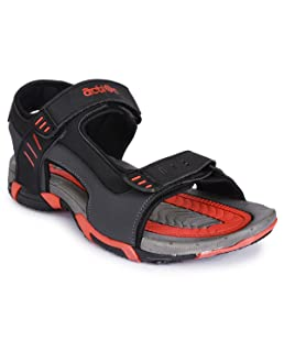 Action Shoes Men's Black Outdoor Sandals  - 7 UK (41EU) (PHY-5002-BLACK-RED)