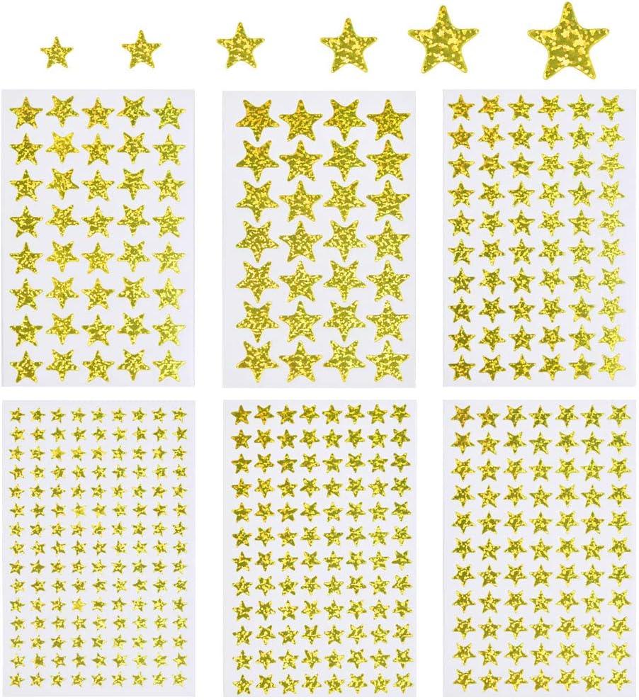 FOROREH Adesivi a Stella in Oro Lucido autoadesivi 60 Fogli in Oro Lucido 6 Adesivi a Stella di Diverse Dimensioni per progetti di Artigianato Scolastico e Natalizio