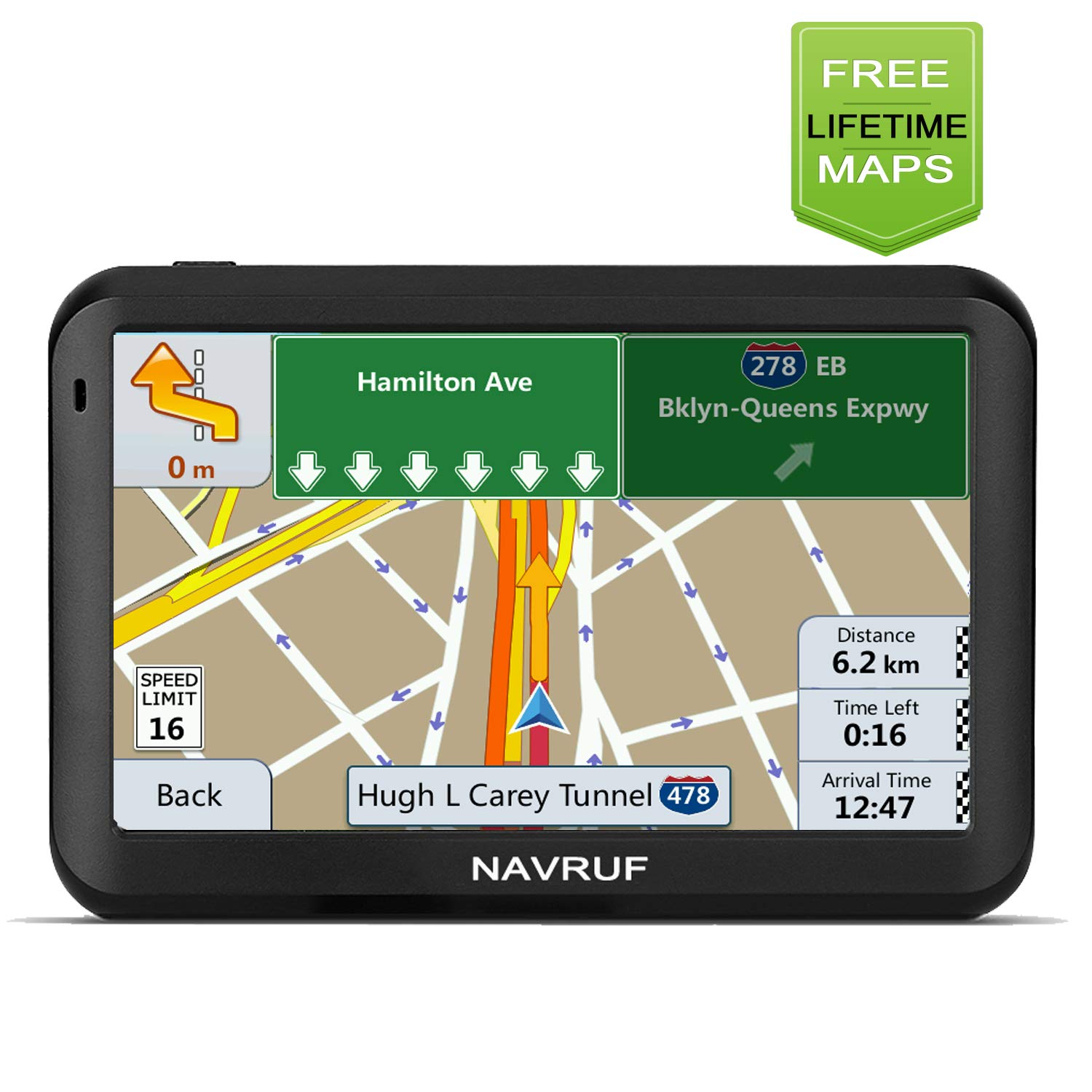 NAVRUF Car GPS Navigation+Latest Maps,Spoken Turn- to-Turn Traffic Alert Vehicle GPS Navigation System, 5-inch 8GB with Sun Visor& Free Lifetime Traffic