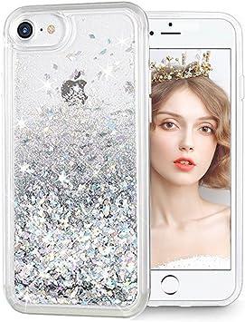 wlooo Funda para iPhone SE 2020, Funda iPhone 6/6S/7/8, iPhone 8 Funda, Glitter liquida Cristal Silicona Protector Suave TPU Bumper Niñas Mujeres Case Brillante Arena Movediza Carcasa (Plata): Amazon.es: Electrónica