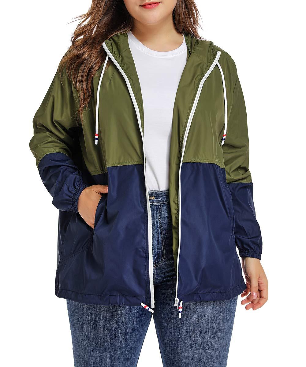 Women's Waterproof Raincoat Outdoor Hooded Rain Jacket Windbreaker XL-6XL
