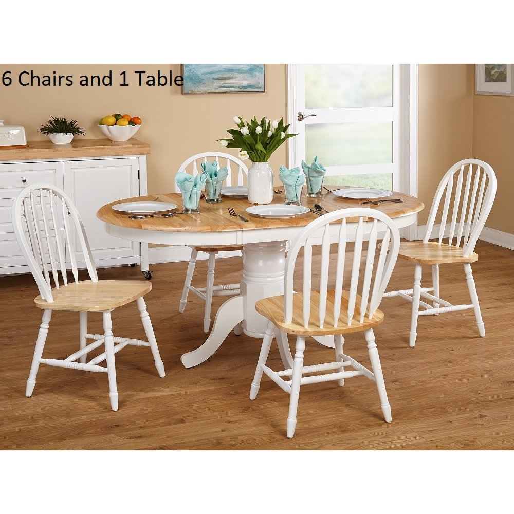 Simple Living Farmhouse 7-piece White/ Natural Dining Set Wood Table with 6 Chairs Room Furniture Sets Kitchen