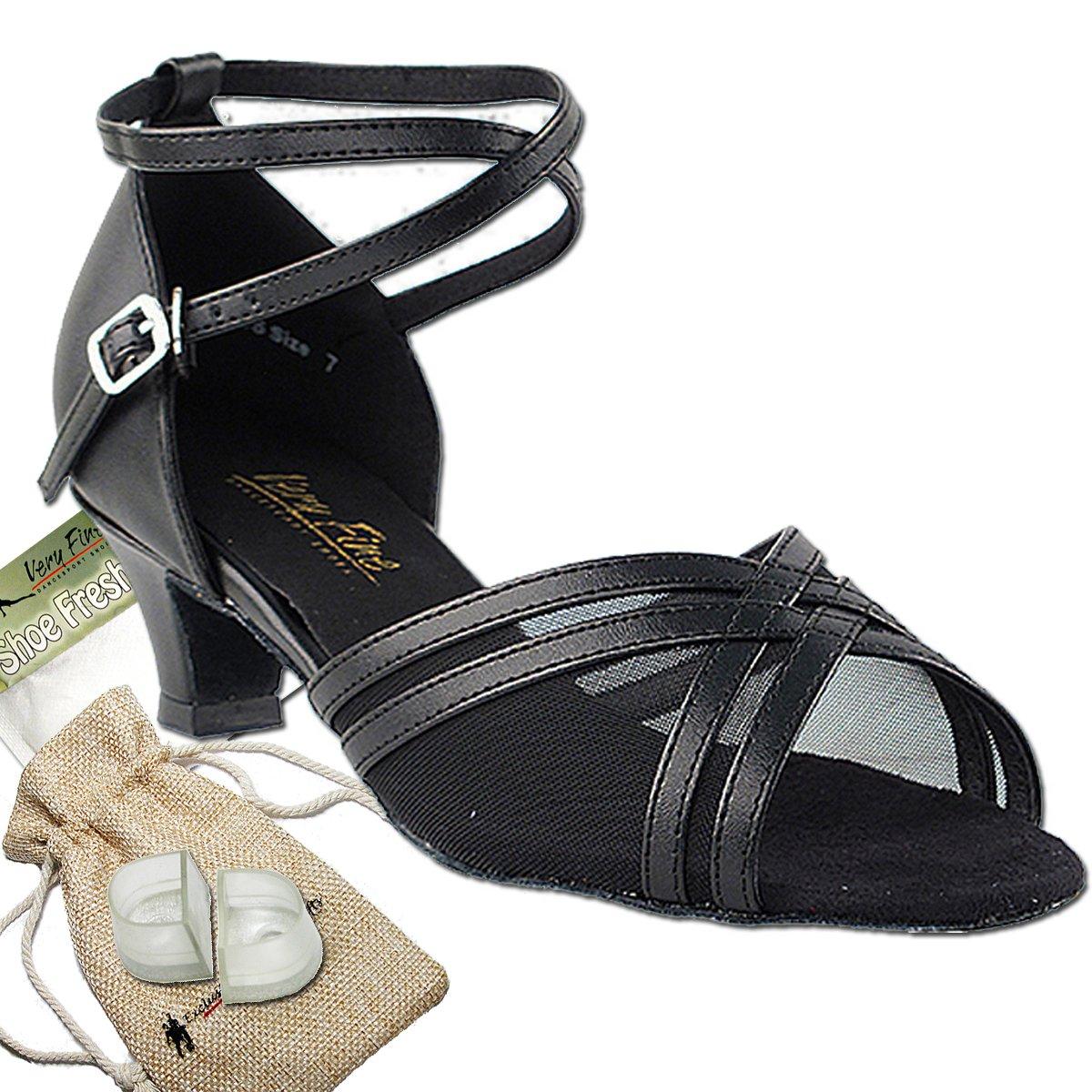 Women's Ballroom Dance Shoes Salsa Latin Practice Dance Shoes Black Leather & Black Mesh 5017EB Comfortable - Very Fine 1.3'' Heel 7 M US [Bundle of 5]