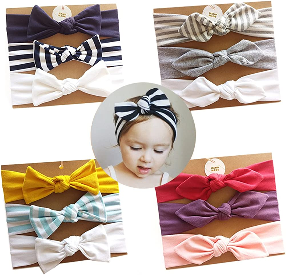 Girls Hairbands for Newborn,Toddler and Childrens,Birthday Present,Girl Gift Vellette Baby Headbands Turban Knotted