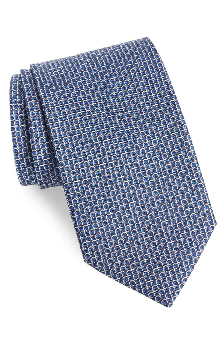 Salvatore Ferragamo Men's Blue Gancini Silk Neck Tie by Salvatore Ferragamo (Image #1)
