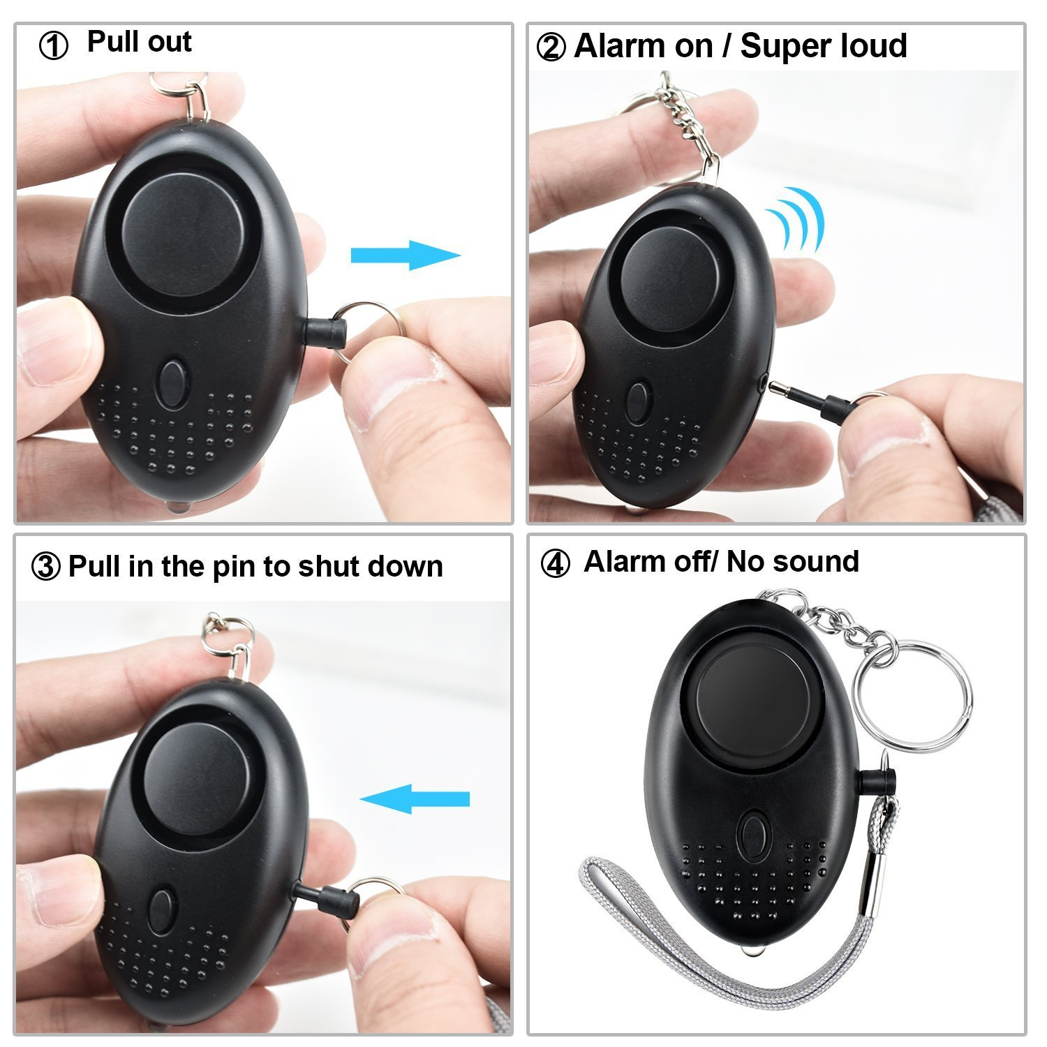 140 Emergency Self-Defense Emergency Security Alarm with LED Light for Women Girls Elderly Safety Batteries Included ZtuoYong Personal Alarm Keychain Light