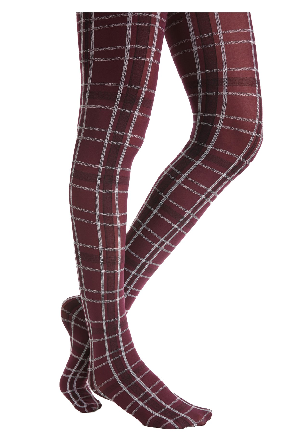 Hue Women's Opaque Tights Plaid, Burgundy Red (Medium)
