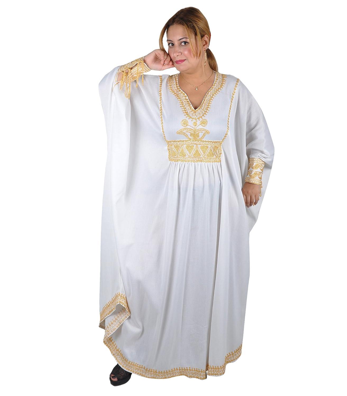Damen Kaftan im Oriental Style Wei/ß-Gold Einheitsgr/ö/ße: M bis 3XL , 40-58
