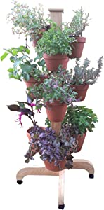 5' Handcrafted Cedar Plant Stand on Wheels. Great for Orchids, Herbs, Succulents 16 Hangapot Clay Pot Hangers Included.