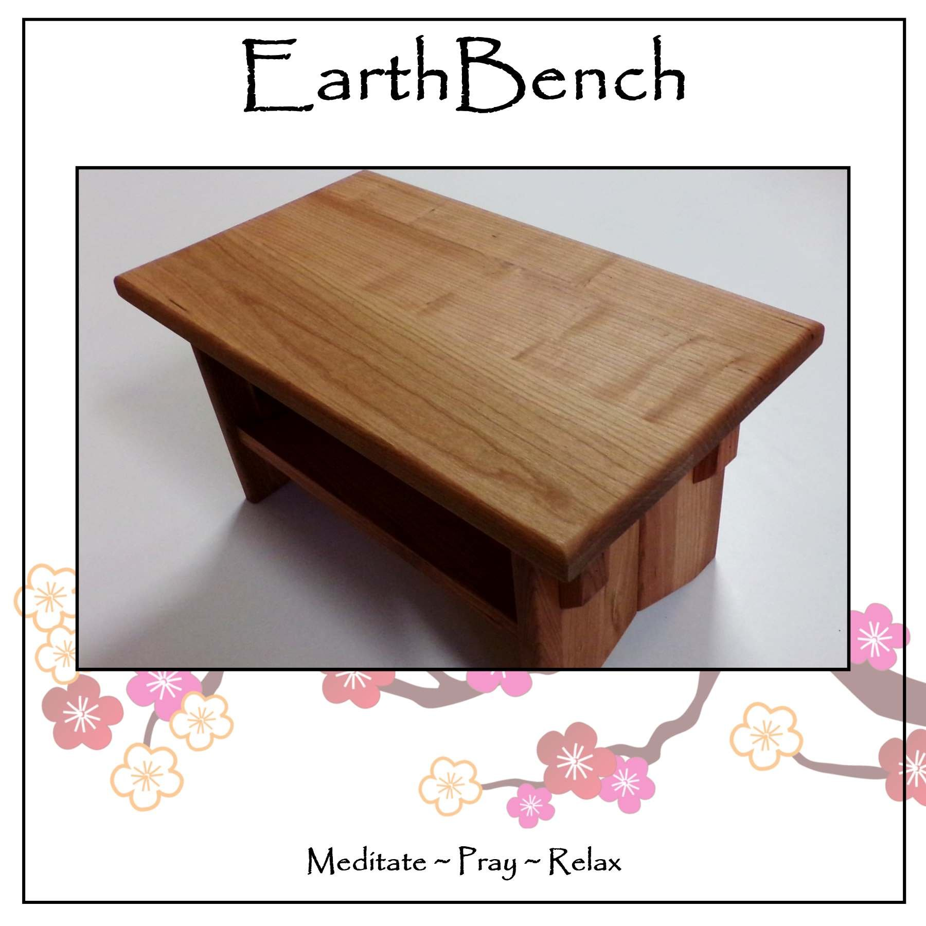 Deluxe Personal Altar with Shelf - EarthBench - Solid CHERRY WOOD Construction for Meditation, Prayer, or Contemplative Studies.