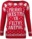WOMENS AND MENS MERRY XMAS CHRISTMAS YA FILTHY ANIMAL WINTER SWEATER JUMPER PRINTED