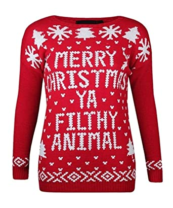 4753300c7 WOMENS AND MENS MERRY XMAS CHRISTMAS YA FILTHY ANIMAL WINTER SWEATER JUMPER  PRINTED: Amazon.co.uk: Clothing