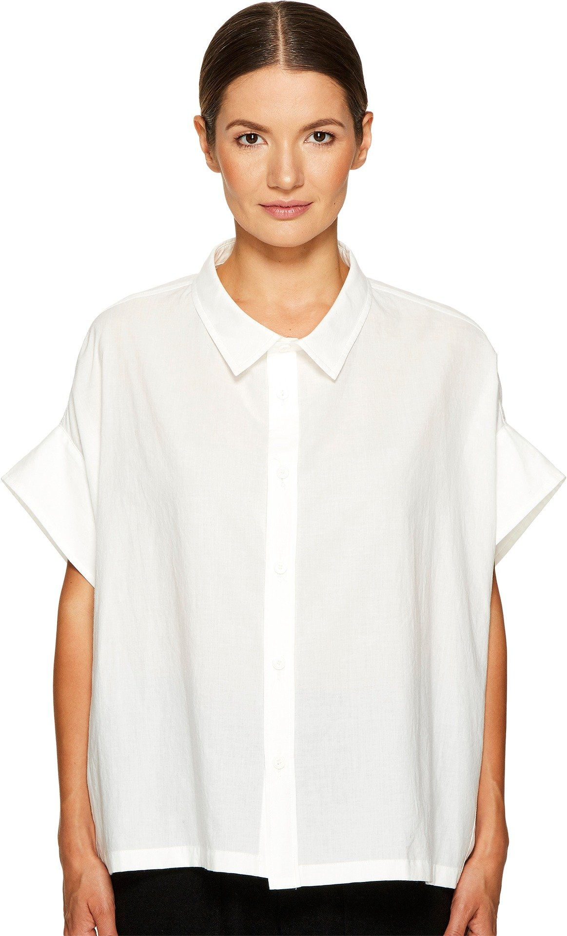 Y's by Yohji Yamamoto Women's Mini Sleeve Short Button Up Top White 2