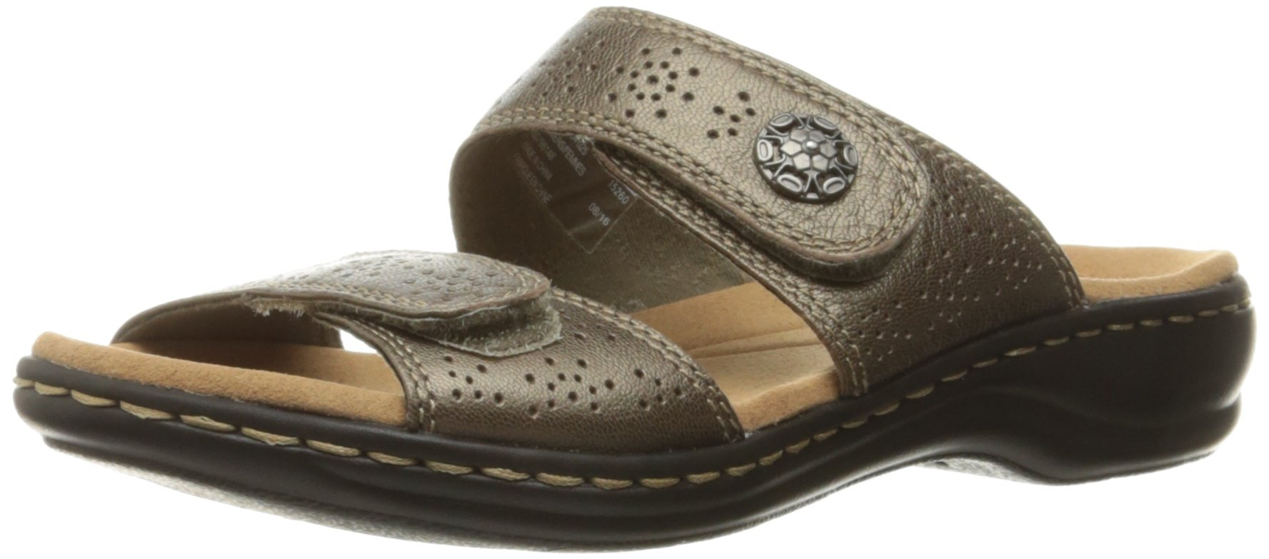 CLARKS Women's Leisa Lacole Slide Sandal, Pewter Metallic Leather, 6 M US by CLARKS