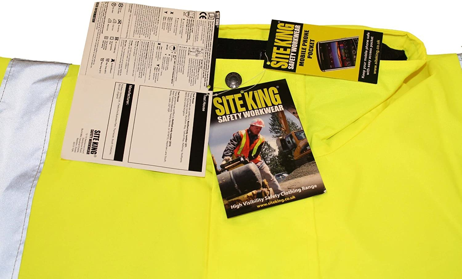 Mens Hi Visibility Padded Bomber Jackets By Site King Size S to 4XL COATS WORK ROAD SAFETY VIS viz